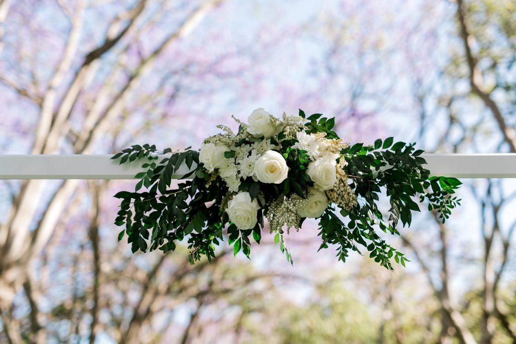 Wedding arbour florals
