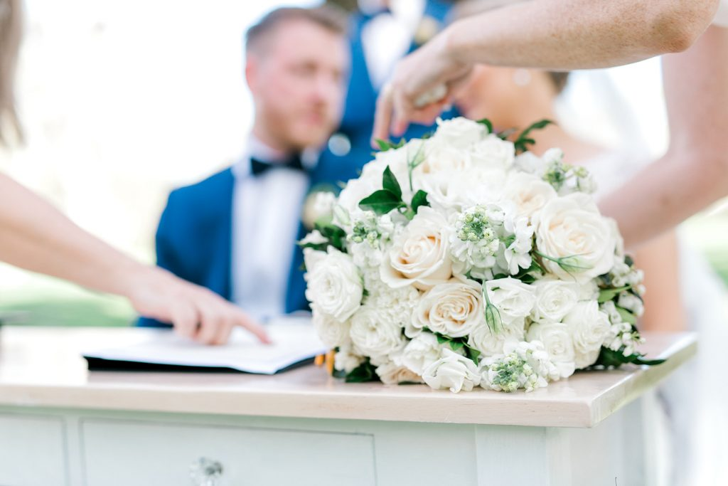 wooden wedding signing table